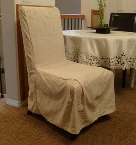 6p Dining Room CHAIR SLIPCOVER FIT set-Off White /Beige