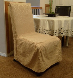 6 Pc. Dining Room CHAIR SLIPCOVER FIT set - Cream/Beige