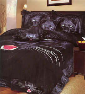 Queen Egyptian Black Panther Comforter Bed-in-a-Bag 7pc