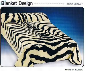 KING Korean Design White Zebra Plush Raschel Blanket
