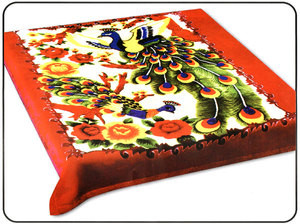 KING Korean Design Red Peacock Plush Raschel Blanket