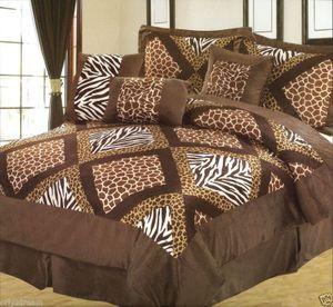 "QUEEN size Bed in a Bag 7 pcs ""Micro Fur""Comforter Bedding Ensemble Set - SAFARI"