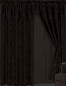 Jacquard Window Curtains / Drapes Set with Attached Valance & Lace Liner - BLACK