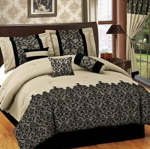 KING size Bed in a Bag 7 pcs Luxurious Comforter Bedding Ensemble Set - BEIGE