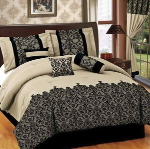 QUEEN size Bed in a Bag 7 pcs Luxurious Comforter Bedding Ensemble Set - BEIGE