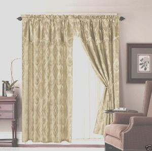 Jacquard Window Curtains / Drapes Set with Attached Valance & Lace Liner - SAGE