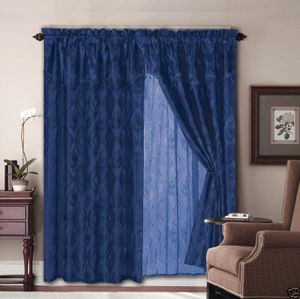 Jacquard Window Curtains / Drapes Set with Attached Valance & Lace Liner - NAVY