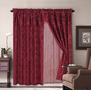 Jacquard Window Curtains/Drapes Set with Attached Valance & Lace Liner-BURGUNDY
