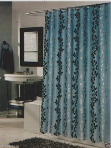 "Flocked Texture Polyester Fabric Shower Curtain ""LEAF"" BLUE Silver & Black"