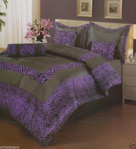 "7 Psc QUEEN Size Comforter Set, PURPLE & Black ""ZEBRA & LEOPARD""Flocking Texture"