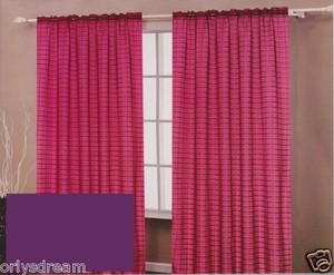 TWO Panels CHECKED Texture Rod Pocket SHEER VOILE Fabric Curtain Set - PURPLE