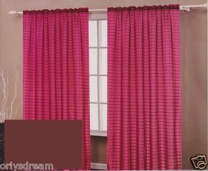 TWO Panels CHECKED Texture Rod Pocket SHEER VOILE Fabric Curtain Set - BROWN