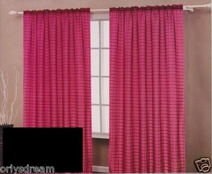 TWO Panels CHECKED Texture Rod Pocket SHEER VOILE Fabric Curtain Set - BLACK
