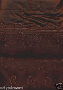 "EMBROIDERY Fabric Shower Bath Curtain With Liner & Metal ""Roller"" Rings - BROWN"