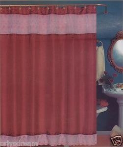 "EMBROIDERY Fabric Shower Bath Curtain With Liner & Metal ""Roller"" Rings BURGUNDY"