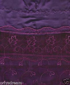 "EMBROIDERY Fabric Shower Bath Curtain With Liner & Metal ""Roller"" Rings - PURPLE"