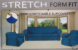 STRETCH FORM FIT-3 Pc Slipcovers Set,Couch/Sofa+Loveseat+Chair Covers-NAVY BLUE
