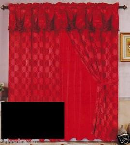 Luxury JACQUARD Window Curtain / Drape Set With Satin Valance & Backing - BLACK