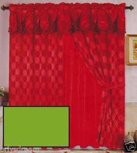 Luxury JACQUARD Window Curtain / Drape Set With Satin Valance & Backing - SAGE