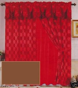Luxury JACQUARD Window Curtain / Drape Set With Satin Valance & Backing - COFFEE