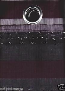 "New Elegant Metal Grommet See-Through Sheer Curtain Set ""Morgan"" - DARK BROWN"