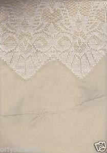 "New Beautiful Elegant SHEER & LACE 2 Panels Curtains/Curtain Set ""Belle"" - BEIGE"