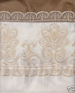 "Beautiful Elegant EMBROIDERY 2 Panel Curtain Set ""SHERRY"" - LIGHT BEIGE & GOLD"
