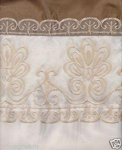 "Beautiful Elegant EMBROIDERY 2 Panel Curtain Set ""SHERRY"" - LIGHT BEIGE & GOLD"
