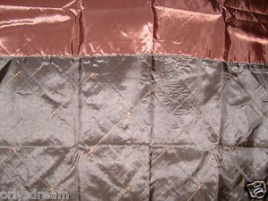 "Embroidery Polyester Fabric Shower Curtain ""DIAMOND"" - BLACK & Chocolate Brown"