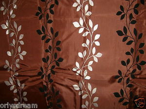 "Flocked Texture Polyester Fabric Shower Curtain ""LEAF"" - BROWN Silver & Black"