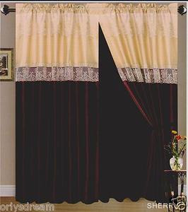 "Beautiful Elegant EMBROIDERY 2 Panel Curtain Set ""SHERRY""- BURGUNDY & DARK BEIGE"