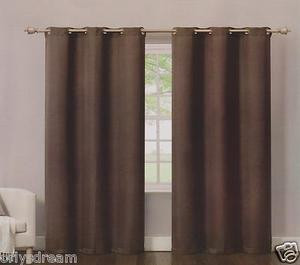 2 Panels Grommet Polyester Curtain Drape Window Covering Panel New - Solid BROWN
