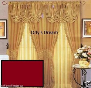Sheer & Lace Victorian Window Curtain w/Satin Valance & Backing Panel - BURGUNDY