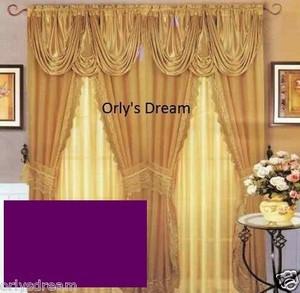 Sheer & Lace Victorian Window Curtain Set w/Satin Valance & Backing Panel-PURPLE