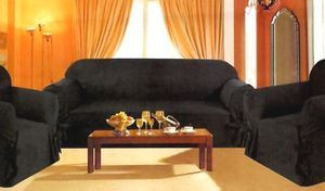 3 Pc. Slipcovers Set,Couch/Sofa+Loveseat+Chair Covers - BLACK color w/Stripes