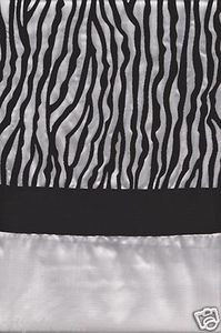 "White and Black Color Flocked ""ZEBRA"" Texture Fabric Shower / Bath Curtain"