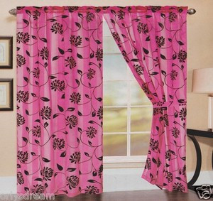 TWO Panels FLOCKED Texture SHEER & SATIN Fabric Curtain Set - HOT PINK