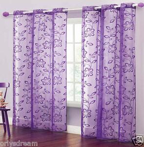 TWO Panels FLOCKED Texture Grommet Panels SHEER Fabric Curtain Set -LIGHT PURPLE