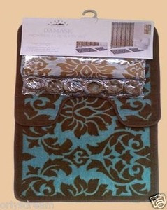 "2 pc. Bath Mat Set - ""Damask"" Blue"