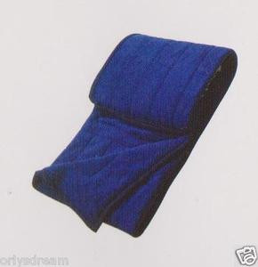 QUEEN Soft BORREGO Suede/Wool Style QUILTED Micro Fiber Blanket/Throw -NAVY BLUE