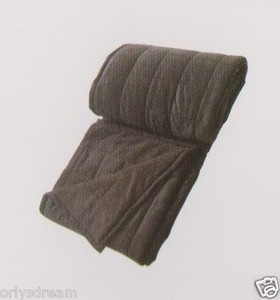 QUEEN Soft BORREGO Suede/Wool Style QUILTED Micro Fiber Blanket/Throw - BROWN