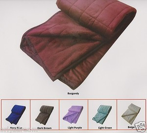 QUEEN Soft BORREGO Suede/Wool Style QUILTED Micro Fiber Blanket/Throw - BURGUNDY