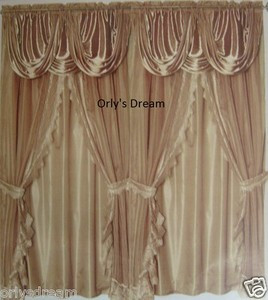 Sheer & Lace Victorian Window Curtain Set w/Satin Valance & Backing Panel -Taupe