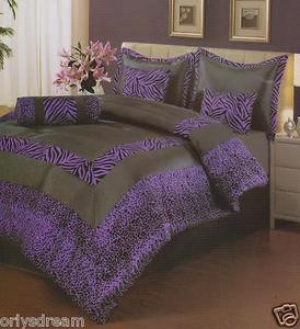 "7 Pcs KING Size Comforter Set, PURPLE & Black ""ZEBRA & LEOPARD"" Flocking Texture"