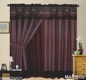 "New Elegant Curtain / Drape Set + Valance + Backing + Tie Backs ""Marisol"" PURPLE"