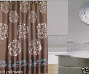 New Modern Design Printed Fabric Shower / Bath Curtain +12 Rings / Hooks - BROWN