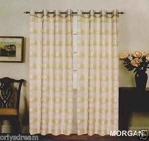 "New Elegant Metal Grommet See-Through Sheer Curtain Set ""Morgan"" Beige & Black"