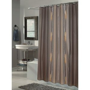 New Modern Design Printed Fabric Shower / Bath Curtain +12 Rings / Hooks - TAUPE