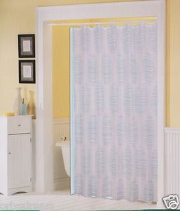 Printed Fabric Shower/Bath Curtain + 12 Rings/Hooks + Vinyl Liner - WHITE & BLUE
