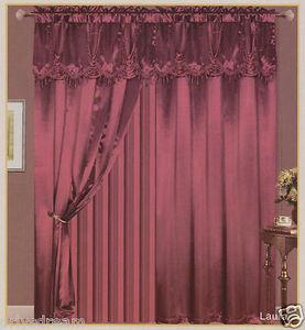 "Luxury ""Laura"" SATIN Window Curtain / Drape Set With Valance Backing & Tie-Backs"